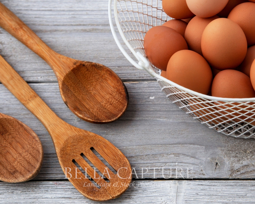 Brown Eggs & Wooden Spoons
